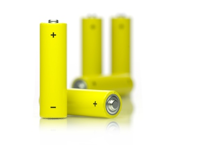 Yellow Batteries on white background.