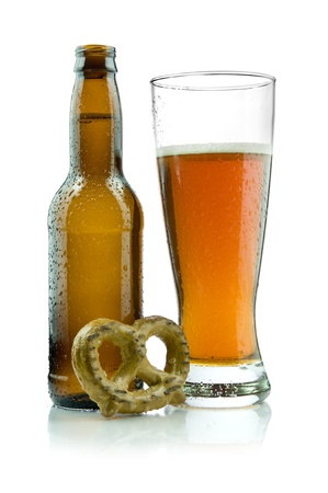 Picture of beer with a pretzel. Stock Photo