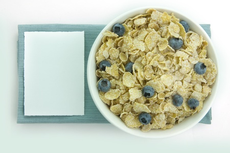 Picture of cereal bowl with blueberries.    Stock Photo - 10944422