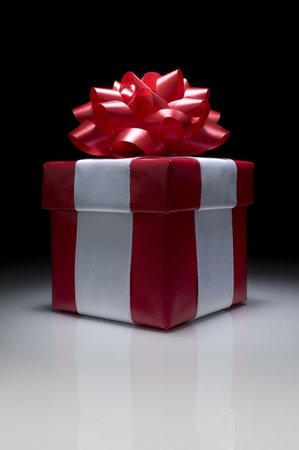 Picture of one red gift box. Stock Photo