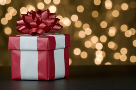 red gift box: Picture of one red gift box. Stock Photo