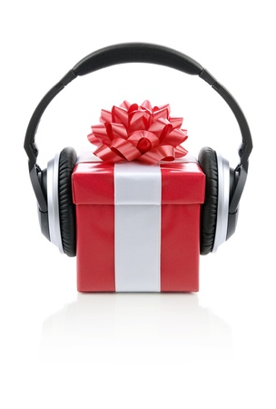give out: Picture of a red gift box with headphones.