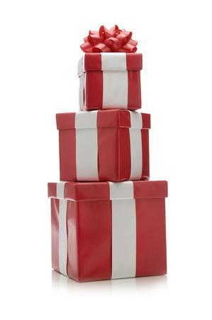 three gift boxes: Imagen de tres cajas de regalo.