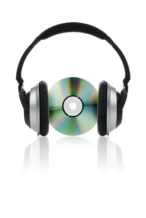 compact disk: Picture of headphones with a compact disk. Stock Photo