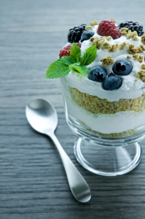 Picture of parfait with fruits.