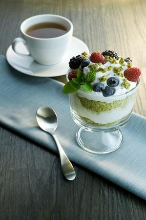Picture of parfait and cup of tea. photo