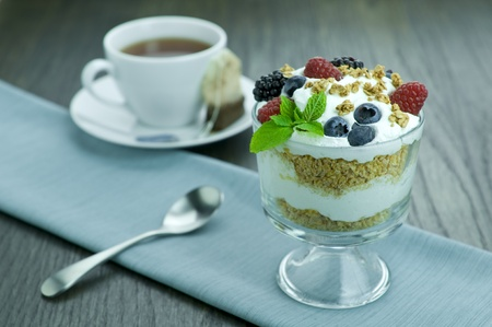 Picture of parfait and cup of tea. Stock Photo