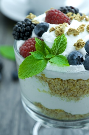 Picture of parfait with fruits.  photo