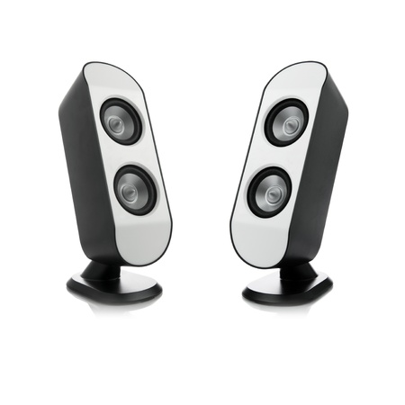 Picture of two modern speakers.