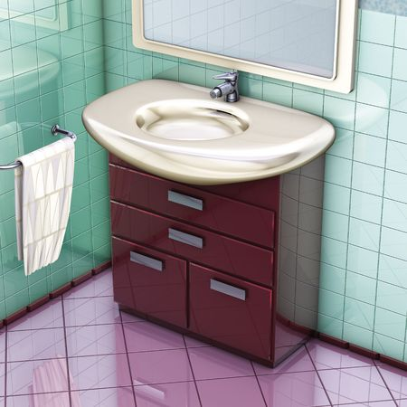 3D rendering, bathroom red cabinet and sink Stock Photo - 7280452