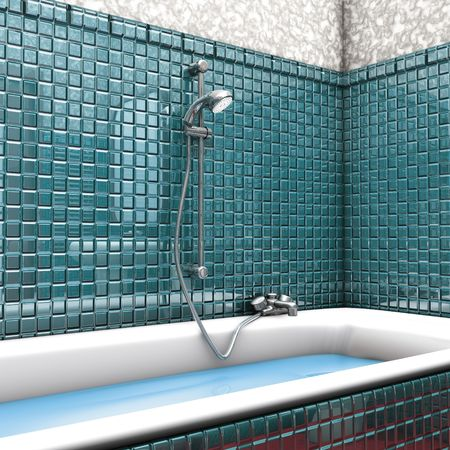 3D ilustration, bathroom green shower photo