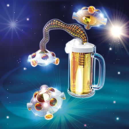 3D ilustration, Golden andle beer and ufo photo
