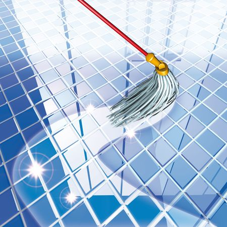 mop the floor: 3d rendering, mop blue floor