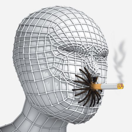 grid head with cigarette Stock Photo - 7332439