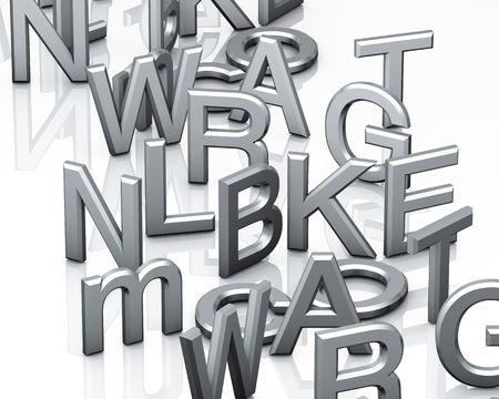 untidy text: Alphabet grey letters