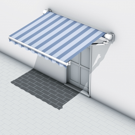 Awnings blue stripe Stock Photo - 7843633