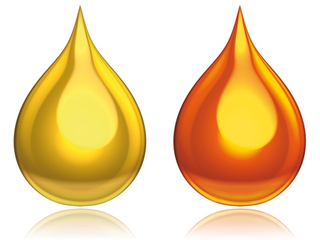 liquid gold: drops gold red Stock Photo