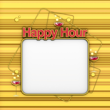 hour glasses: Happy Hour menu gold