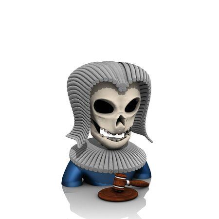 halloween judge skull with wig