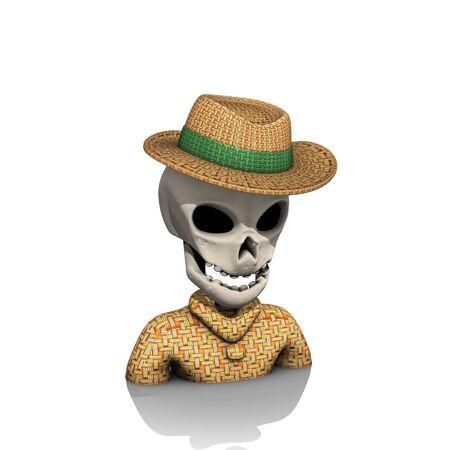 halloween skull straw hat