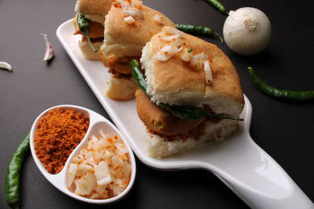 Bombay vada paav is an indian burger. Potato patty is deep fried in gram flour or besan batter and it is served hot with paav or bun like sandwich. Its available and liked all over India