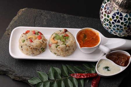 upma Ven Pongal with Sambar, coconut Chutney popular Indian breakfast food Tamil Nadu festival Pongal made with Rava or semolina
