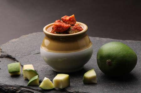 Homemade Mango Pickle or aam ka achar Kairi Loncha Stock Photo