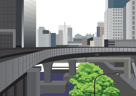 burg: Bangkok city with highway, tree and office buildings illustration. Stock Photo