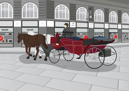 megapolis: Horse drawn carriage with driver on the street with shops.