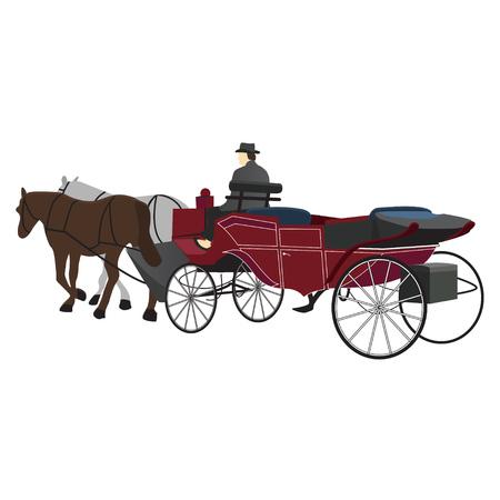 Carruaje tirado por caballos con conductor. Vector está aislado en un fondo blanco. Ilustración de vector