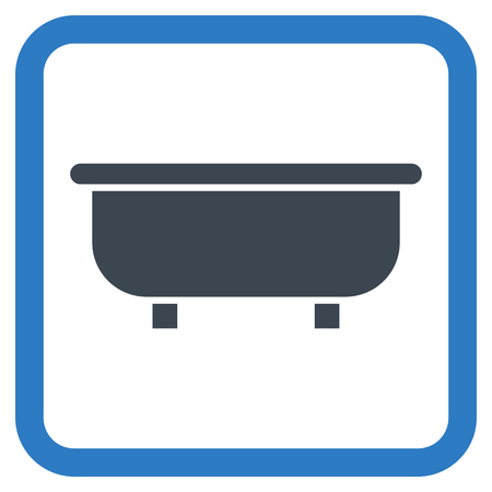 bathtub: Bathtub vector icon. Style is bicolor flat symbol in a rounded square frame, smooth blue colors, white background.
