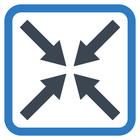 shrink: Center Arrows vector icon. Style is bicolor flat symbol in a rounded square frame, smooth blue colors, white background.