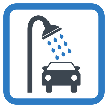 carwash: Car Shower vector icon. Style is bicolor flat symbol in a rounded square frame, smooth blue colors, white background.