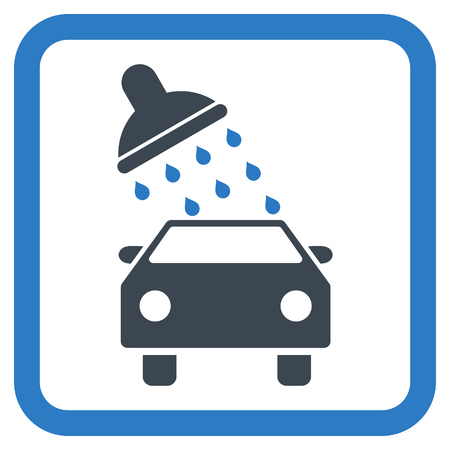 carwash: Car Wash vector icon. Style is bicolor flat symbol in a rounded square frame, smooth blue colors, white background.