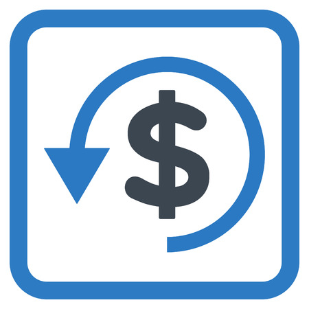 remake: Chargeback vector icon. Style is bicolor flat symbol in a rounded square frame, smooth blue colors, white background. Illustration
