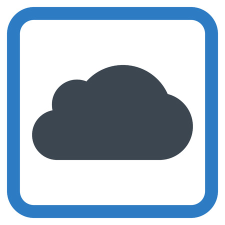 saas: Cloud vector icon. Style is bicolor flat symbol in a rounded square frame, smooth blue colors, white background. Illustration