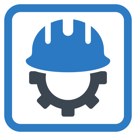 hardhat: Development Hardhat vector icon. Style is bicolor flat symbol in a rounded square frame, smooth blue colors, white background. Illustration