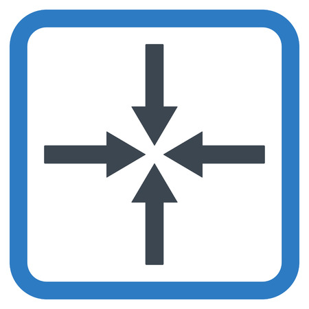 impact: Impact Arrows vector icon. Style is bicolor flat symbol in a rounded square frame, smooth blue colors, white background.