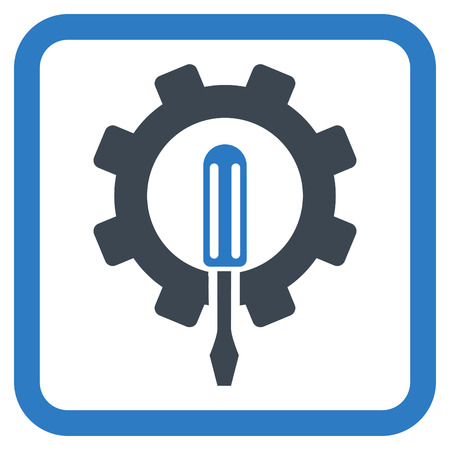 Engineering vector icon. Style is bicolor flat symbol in a rounded square frame, smooth blue colors, white background.