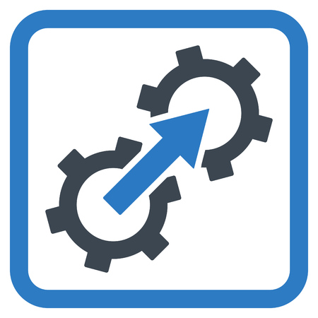 api: Gear Integration vector icon. Style is bicolor flat symbol in a rounded square frame, smooth blue colors, white background.