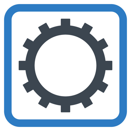 config: Gear vector icon. Style is bicolor flat symbol in a rounded square frame, smooth blue colors, white background.