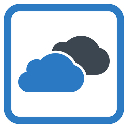 saas: Clouds vector icon. Style is bicolor flat symbol in a rounded square frame, smooth blue colors, white background.