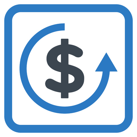 resell: Refund vector icon. Style is bicolor flat symbol in a rounded square frame, smooth blue colors, white background.