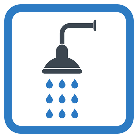 disinfect: Shower vector icon. Style is bicolor flat symbol in a rounded square frame, smooth blue colors, white background.