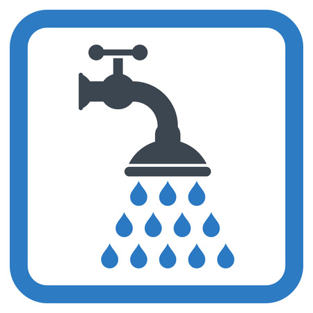 disinfectant: Shower Tap vector icon. Style is bicolor flat symbol in a rounded square frame, smooth blue colors, white background.