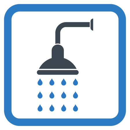 rounded: Shower vector icon. Style is bicolor flat symbol in a rounded square frame, smooth blue colors, white background.