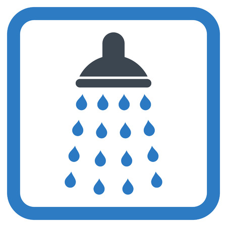 disinfectant: Shower vector icon. Style is bicolor flat symbol in a rounded square frame, smooth blue colors, white background.