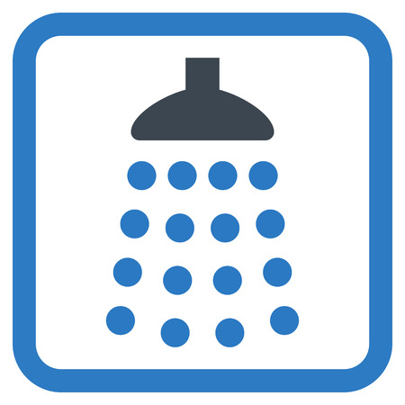 antiseptic: Shower vector icon. Style is bicolor flat symbol in a rounded square frame, smooth blue colors, white background.