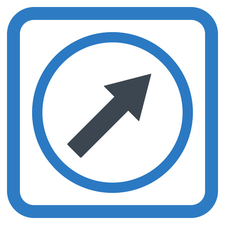 upright: Up-Right Rounded Arrow vector icon. Style is bicolor flat symbol in a rounded square frame, smooth blue colors, white background. Illustration