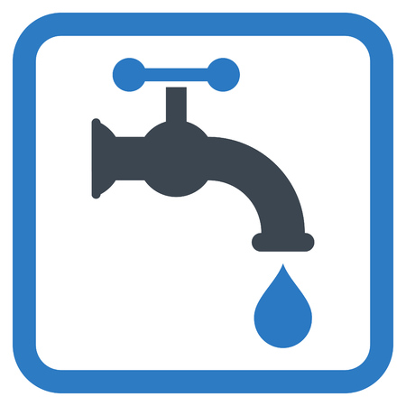 Water Tap vector icon. Style is bicolor flat symbol in a rounded square frame, smooth blue colors, white background.